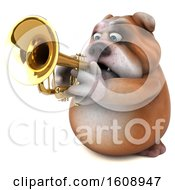 Clipart Of A 3d Bulldog Playing A Trumpet On A White Background Royalty Free Illustration by Julos