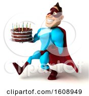 Poster, Art Print Of 3d Buff White Male Yellow And Blue Super Hero Holding A Birthday Cake On A White Background