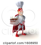 Poster, Art Print Of 3d White Male Super Chef In A Red And White Costume Holding A Birthday Cake On A White Background