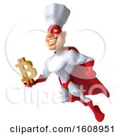 Poster, Art Print Of 3d White Male Super Chef In A Red And White Costume Holding A Bitcoin Symbol On A White Background