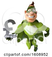 3d Buff White Male Green Super Hero Holding A Lira On A White Background