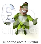 3d Buff Black Male Green Super Hero Holding A Lira On A White Background
