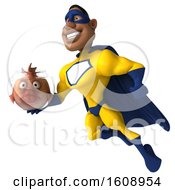 3d Buff Black Male Yellow And Blue Super Hero Holding A Fish Bowl On A White Background