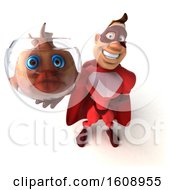 3d Buff Red White Male Super Hero Holding A Fish Bowl On A White Background