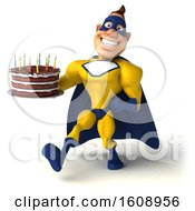 3d Buff White Male Yellow And Blue Super Hero Holding A Birthday Cake On A White Background