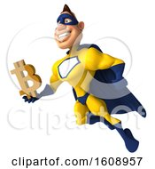 Poster, Art Print Of 3d Buff White Male Yellow And Blue Super Hero Holding A Bitcoin Symbol On A White Background