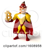 3d Buff White Male Yellow And Red Super Hero Holding A Bitcoin Symbol On A White Background
