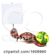 September 18th, 2018: Clipart Of A 3d Crab Holding A Globe On A White Background Royalty Free Illustration by Julos