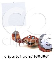 Poster, Art Print Of 3d Crab Holding A Euro On A White Background