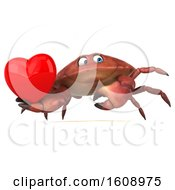 Poster, Art Print Of 3d Crab Holding A Heart On A White Background