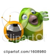 September 18th, 2018: Clipart Of A 3d Green Bird Holding A Tv On A White Background Royalty Free Illustration by Julos
