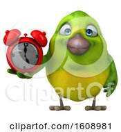 September 18th, 2018: Clipart Of A 3d Green Bird Holding An Alarm Clock On A White Background Royalty Free Illustration by Julos