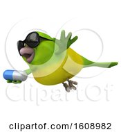 September 18th, 2018: Clipart Of A 3d Green Bird Holding A Pill On A White Background Royalty Free Illustration by Julos