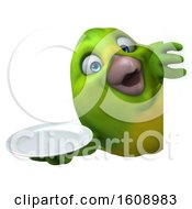 September 18th, 2018: Clipart Of A 3d Green Bird Holding A Plate On A White Background Royalty Free Illustration by Julos