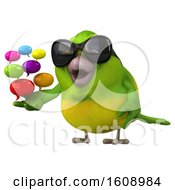 3d Green Bird Holding Messages On A White Background