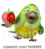 September 18th, 2018: Clipart Of A 3d Green Bird Holding A Strawberry On A White Background Royalty Free Illustration by Julos
