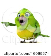 September 18th, 2018: Clipart Of A 3d Green Bird Pointing On A White Background Royalty Free Illustration by Julos