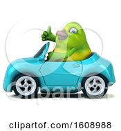September 18th, 2018: Clipart Of A 3d Green Bird Driving A Convertible On A White Background Royalty Free Illustration by Julos