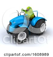 September 18th, 2018: Clipart Of A 3d Green Bird Operating A Tractor On A White Background Royalty Free Illustration by Julos