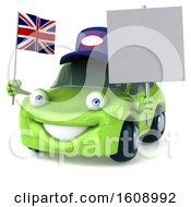 Poster, Art Print Of 3d Green Mechanic Porsche Car Holding A Union Jack Flag On A White Background