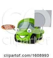 September 18th, 2018: Clipart Of A 3d Green Car Holding A Pizza On A White Background Royalty Free Illustration by Julos