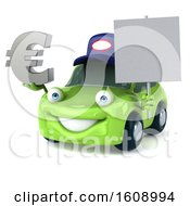 Poster, Art Print Of 3d Green Mechanic Porsche Car Holding A Euro On A White Background