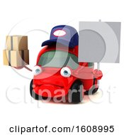September 18th, 2018: Clipart Of A 3d Red Mechanic Car Holding Boxes On A White Background Royalty Free Illustration by Julos