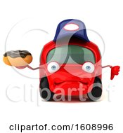 September 18th, 2018: Clipart Of A 3d Red Mechanic Car Holding A Donut On A White Background Royalty Free Illustration by Julos