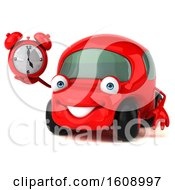 September 18th, 2018: Clipart Of A 3d Red Car Holding An Alarm Clock On A White Background Royalty Free Illustration by Julos