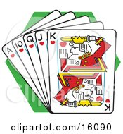 Straight Flush Of Playing Cards Clipart Illustration