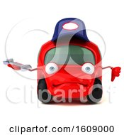 Clipart Of A 3d Red Mechanic Car Holding A Wrench On A White Background Royalty Free Illustration