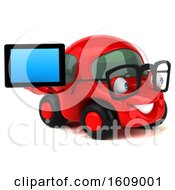 Clipart Of A 3d Red Car Holding A Tablet On A White Background Royalty Free Illustration