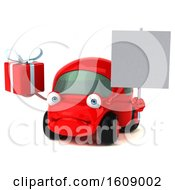 Clipart Of A 3d Red Car Holding A Gift On A White Background Royalty Free Illustration