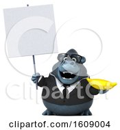 Clipart Of A 3d Business Gorilla Holding A Banana On A White Background Royalty Free Illustration by Julos
