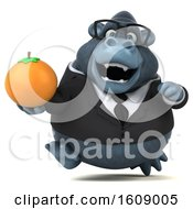 Clipart Of A 3d Business Gorilla Holding An Orange On A White Background Royalty Free Illustration by Julos