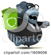 Clipart Of A 3d Business Gorilla Holding A Recycle Bin On A White Background Royalty Free Illustration by Julos