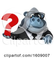 Clipart Of A 3d Business Gorilla Holding A Question Mark On A White Background Royalty Free Illustration by Julos
