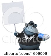 Clipart Of A 3d Business Gorilla Holding A Pill On A White Background Royalty Free Illustration by Julos