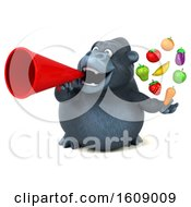 Clipart Of A 3d Gorilla Holding Produce On A White Background Royalty Free Illustration by Julos