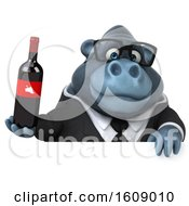 Clipart Of A 3d Business Gorilla Holding Wine On A White Background Royalty Free Illustration by Julos