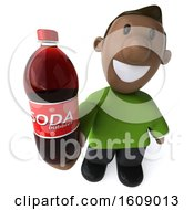 Clipart Of A 3d Casual Black Man Holding A Soda On A White Background Royalty Free Illustration