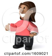 Clipart Of A 3d Casual Black Woman Presenting On A White Background Royalty Free Illustration