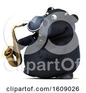 3d Black Bull Holding A Saxophone On A White Background