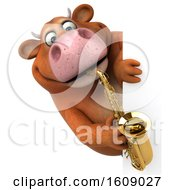 3d Brown Cow Holding A Saxophone On A White Background