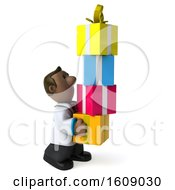 3d Short Black Male Doctor Carrying Gifts On A White Background