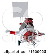 September 18th, 2018: Clipart Of A 3d Red Business Bull Flying A Plane On A White Background Royalty Free Illustration by Julos