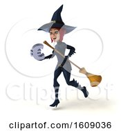 Poster, Art Print Of 3d Sexy Blue Witch Holding A Euro On A White Background