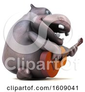 3d Hippo Holding A Guitar On A White Background