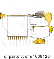 Poster, Art Print Of Cartoon Black Male Christmas Angel Blowing A Horn With A Banner Sign