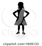 Silhouetted Girl With Hands On Her Hips With A Reflection Or Shadow On A White Background